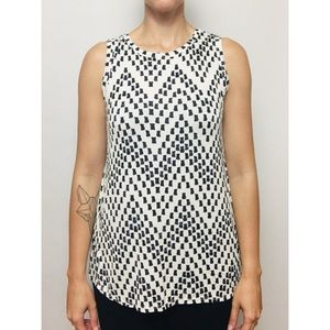 White & black spotted sleeveless top
